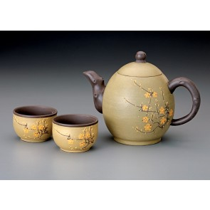 22 oz. Flower Blossom Yixing Teapot w/2 tea cups
